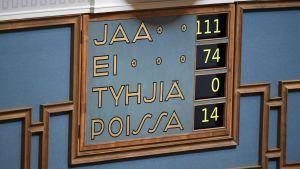 Rösttavlan i plenisalen med rösterna 11-74.
