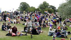 Människor är samlade i Brunnsparken för att fira pride
