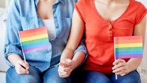 två kvinnor håller varanra i handen och håller i varsin regnbågsflagga