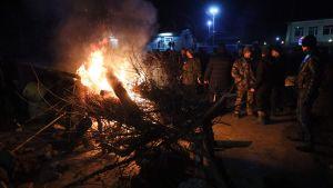 Demonstration mot coronaevakuering i Ukraina