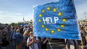 Motståndare till Ungerns EU-fientliga premiärminister Viktor Orbán ber EU om hjälp på en demonstration i Budapest.