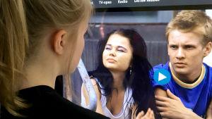 TET-harjoittelija Serafiina katsooHäräntappoasetta Yle Areenassa