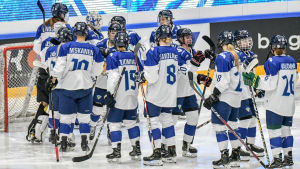 Finland firar efter match mot Sverige i Tammerfors.
