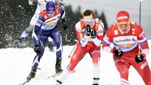 Matti Heikkinen på den tredje etappen i stafetten  i Seefeld.