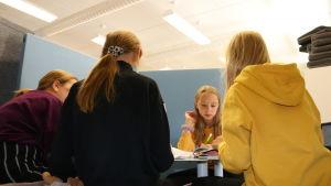 Neljä oppilasta tekee ihmistä käsittelevää projektityötä sermien suojissa.