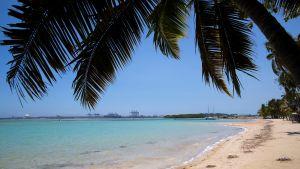 Karantänen innebär att turiststranden Boca Chica i Dominikanska republiken ligger öde. 15.4.2020