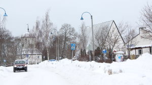 Pyttis kyrkby på vintern.