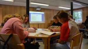 Fyra elever jobbar fokuserat under en lektion i Gerby skola.
