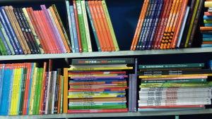 Barnböcker i mängder på hyllor i en bokhandel.