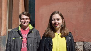 Bild på SU:s vice ordförande Nicholas Kujala och Annika Lyytikäinen, styrelseledamot i KD:s ungdomsförbund.