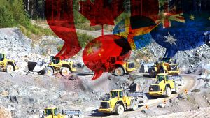 Utländska lastbilar hämtar metall ur finländsk gruva