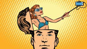 tecknad bild där en mans huvud är öppnat som ett lock och i huvudet står en ung kvinna som har en selfiepinne i handen och tar en selfie på sig själv.