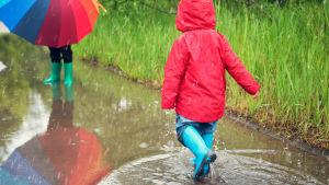 Barn promenerar genom vattenpöl