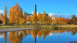 Fabrikspipa och höstfärgade lövträd speglas i vatten i Reso.