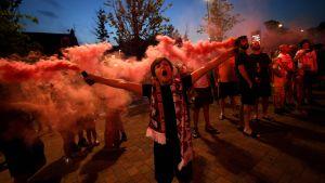 Liverpool supportrar firar ligatiteln 2020.