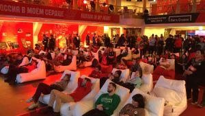 Publiken tittar på konståkning vid Sports House i Gangneung.