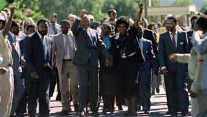 Nelson Mandela och Winnie Mandela hälsar en folksamling efter att Nelson Mandela befriats från fängelset Victor Verster nära Paarl.  Februari 1990.