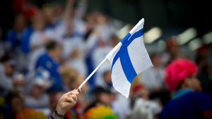 Finlands flagga, ishockey-VM 2018.