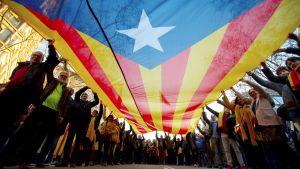 Demonstranter håller i katalanska flaggan med kameran fotograferar under den.