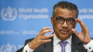 WHO-chefen Tedros Adhanom Ghebreyesus vädjade kraftfullt till världsledare under sin presskonferens i Genève på onsdagen.