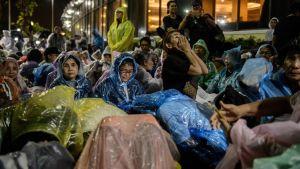 Sörjande i Bangkok under begravningshögtidligheterna.