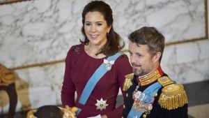 Kronprinsessan Mary och Kronprins Frederik 3.1.2018.