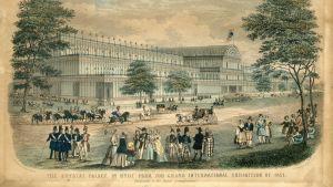 Vykort från världsutställningen i Crystal Palace i London 1851.