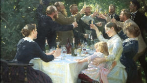 "Bild på den danske konstnären Peder Severin Krøyers tavla ""Hip, hip, hurra! Kunstnerfest på Skagen""."