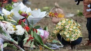 En liten flicka lägger blommor på en minnesplats i närheten av en av de drabbade moskéerna i Christchurch. Bilden tagen tisdagen 19.3.