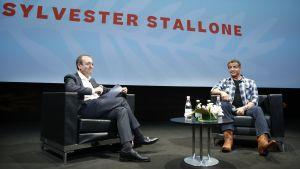 Sylvester Stallone intervjuas av Didier Allouch under Cannes Masterclass 2019.