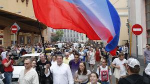 Demonstranterna hade inte tillstånd för onsdagens demonstrationståg.