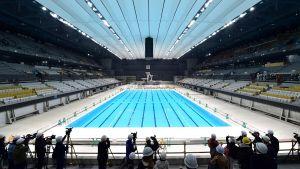 Bassängen i den nya simstadion under ett presstillfälle den 21 november.