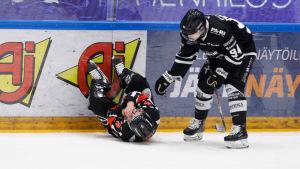 Domaren Jarno Heikkinen ligger på isen, Henrik Larsson lutar sig ner
