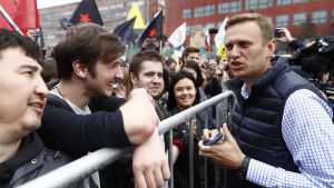 Aleksej Navalnyj under demonstrationen i Moskva