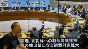 FN:s säkerhetsråd röstar om sanktioner mot Nordkorea i september 2017.