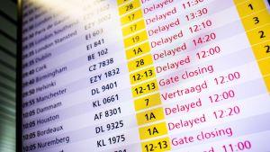 Förseningar på Schipol flygplats i Amsterdam annonseras på en tavla.