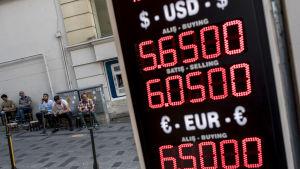 Valutakurser på en skärm.