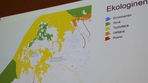 Karta över vattens ekologiska status i Jakobstadsregionen.