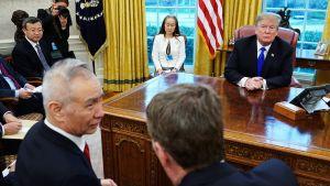 Den 22 februari följde Trump med då Kinas vice premiärminister Liu He diskuterade med USA:s handelsrepresentant Robert Lighthizer i Ovala rummet.