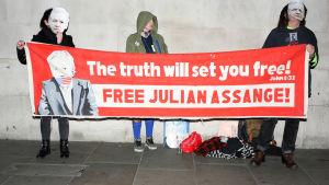 """Julian Assanges an hängare demonstrerar - """" Million Mask March"""" i London 5.11.2018"""