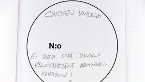 Röstsedel där det står chicken vindaloo.
