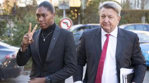 Caster Semenya och hennes advokat Gregory Nott hördes av CAS i februari.
