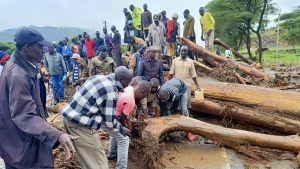 Kenian länsiosassa West Pokot -maakunnassa raivattiin maanvyöryjen tekemiä tuhoja 23. marraskuuta 2019.
