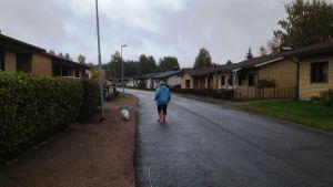 Kvinna rastar hund på gata