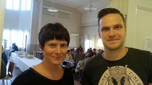 Sabina Storbacka och Mikko Uusitalo under idébageriet på Villa Elba