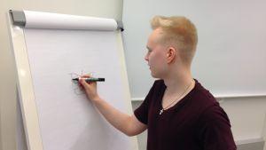 """Tuomas Toivainen piirtää fläppitaululle luokanvalvoja """"Kyynistä"""""""