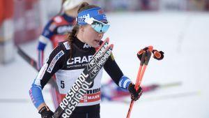Kerttu Niskanen var inte nöjd med sin insats i Tour de Ski.