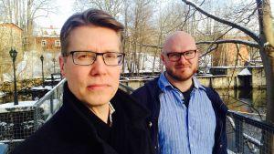 Taloustoimittaja Marko Erola ja toimittaja Tuomas Karemo