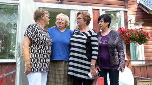 Nada Nord hjälparbetare Gun-May Löv, Maie Ausmeer från Estland, Eivor Haga och Rose-May Svartgrund