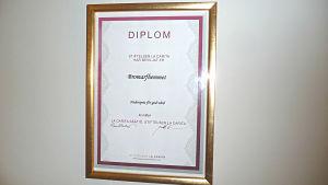 Diplom som utdelats av La Carita stiftelsen och utdelas för god vård av äldre. Finns på en vägg i Bromarfhemmet.